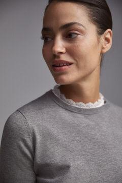 Pedro del Hierro Combined pointelle-detail jumper Grey