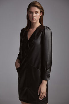 Pedro del Hierro Short faux leather dress Black