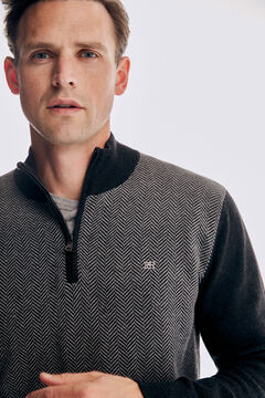 Pedro del Hierro Herringbone perkins collar jumper Grey