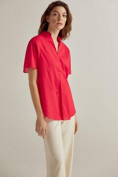 Pedro del Hierro Blusa de camisa de algodão Vermelho