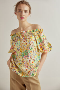 Pedro del Hierro Printed off-the-shoulder blouse Yellow