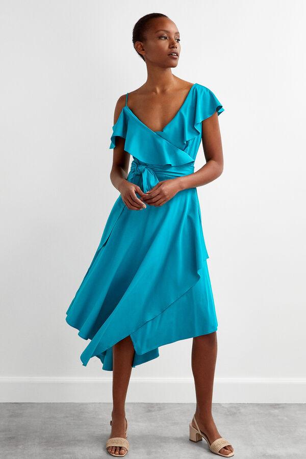 f9a086479 Pedro del Hierro Vestido envolvente asimétrico Azul