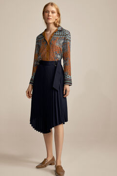 Pedro del Hierro Asymmetrical pleated skirt Ecru