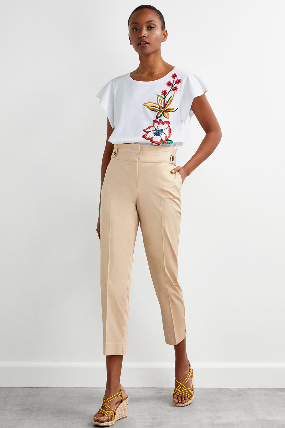 b32d1f35 Pedro del Hierro High waisted trousers Beige