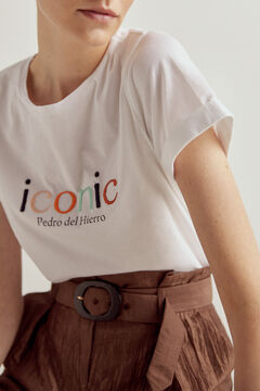 Pedro del Hierro Short-sleeved embroidered T-shirt Ivory