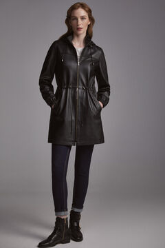 Pedro del Hierro Hooded leather parka Black