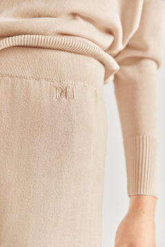 Pedro del Hierro Jersey-knit embroidered logo culottes Brown