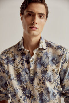 Pedro del Hierro Printed italian fabric shirt Blue
