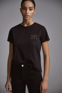 Pedro del Hierro Short sleeve t-shirt collar box logo in iridescent strass Black