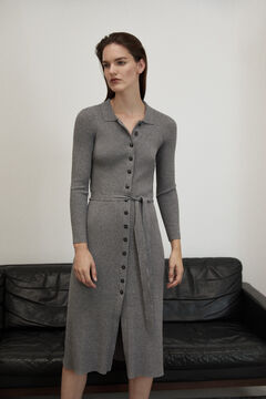 Pedro del Hierro Ribbed jersey-knit buttoned dress Grey