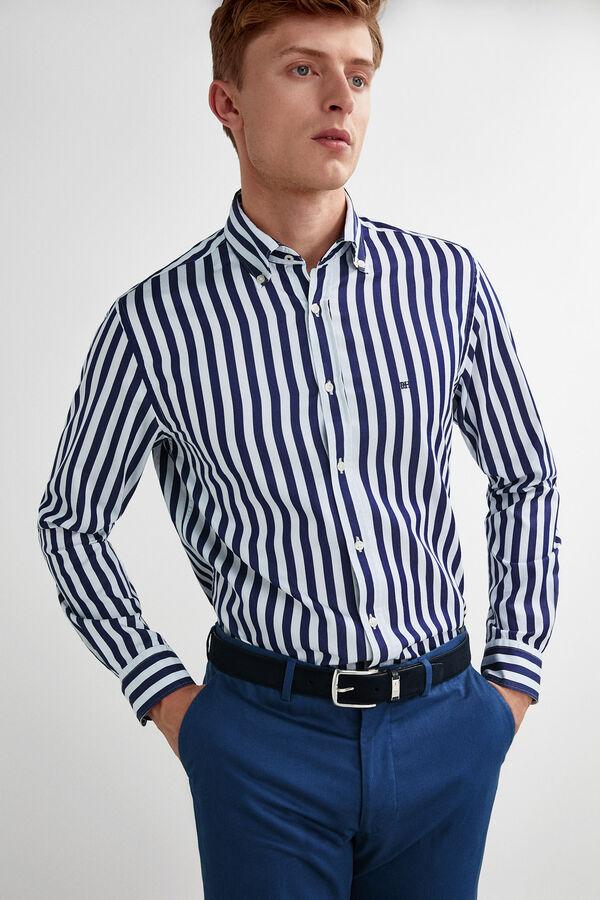 0e34f4895 Pedro del Hierro Camisa de rayas tejido italiano Azul