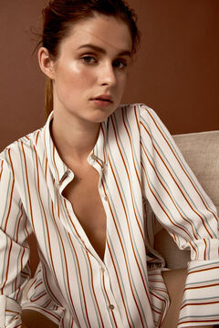 Pedro del Hierro Oversize striped shirt  Beige