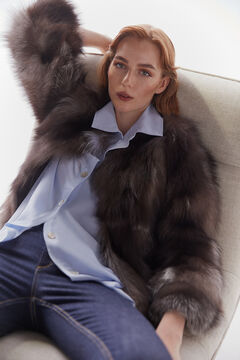Pedro del Hierro Fox fur jacket Brown