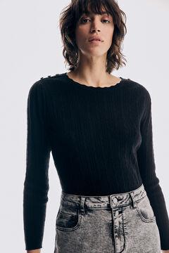 Pedro del Hierro Fine cross-knit jumper Black