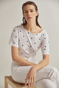 Pedro del Hierro Embroidered polka-dots t-shirt Ivory