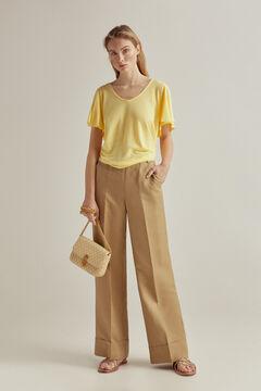 Pedro del Hierro Essential V-neck flounced short-sleeved T-shirt Yellow