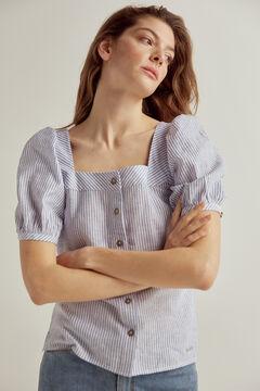 Pedro del Hierro Woven stripe blouse Blue