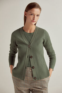 Pedro del Hierro Ribbed jacket with customised buttons Green