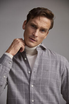 Pedro del Hierro Cashmere touch cotton micro gingham shirt Grey
