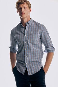 Pedro del Hierro Checked Tech Non-Iron cotton shirt Blue