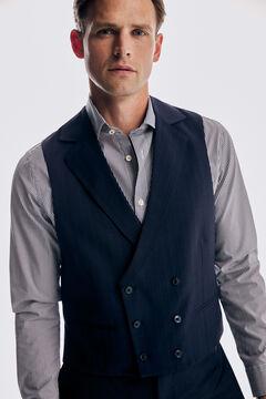 Pedro del Hierro Tailored fit striped vest Blue