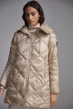 Pedro del Hierro Hooded diamond parka Ecru