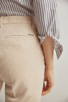 Pedro del Hierro Jacquard slim-fit trousers Ecru