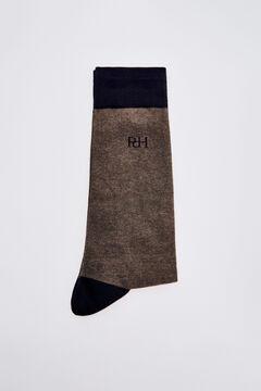 Pedro del Hierro Plain logo socks Beige