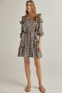Pedro del Hierro Printed flounced dress Grey