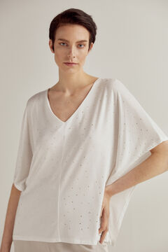 Pedro del Hierro Wide-fit short-sleeved T-shirt with strass Ecru