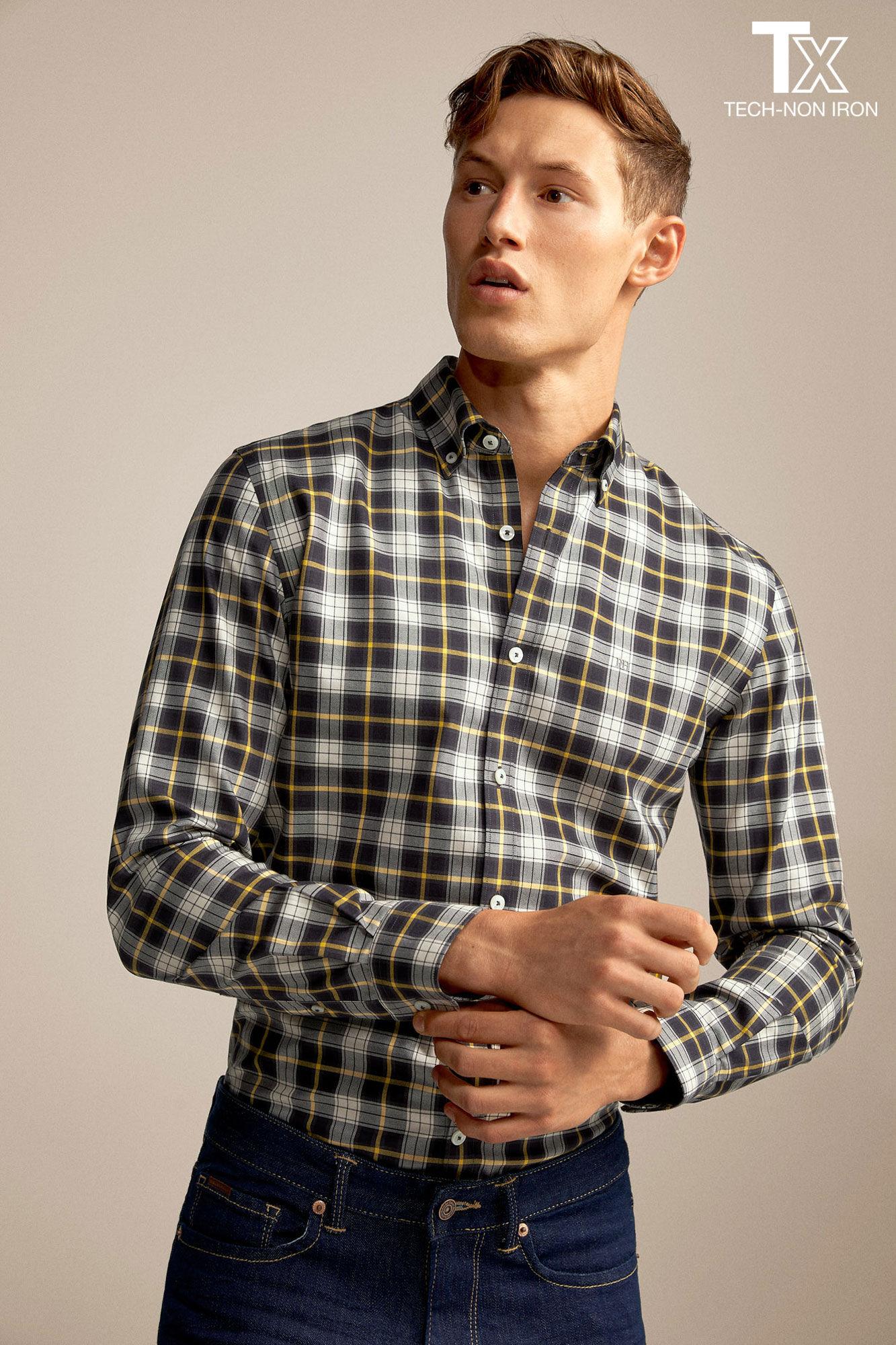 Camisa tech non iron xadrez tartã