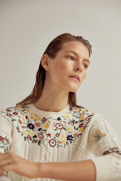 Pedro del Hierro Cross-knit jumper with floral embroidery Beige