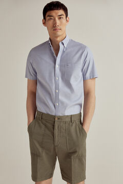 Pedro del Hierro Plain short-sleeved TX Fresh non iron shirt Blue