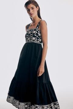 Pedro del Hierro Contrast embroidery long dress Black