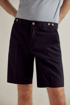 Pedro del Hierro False plain textured Bermuda shorts Blue