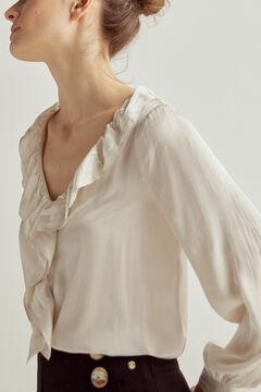 Pedro del Hierro Romantic flounced blouse Beige