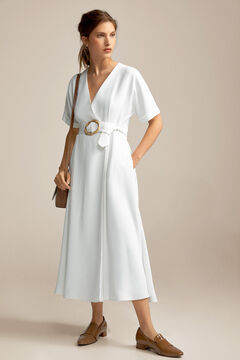 Pedro del Hierro Bamboo buckle dress Ecru