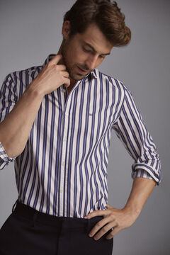 Pedro del Hierro Striped Italian fabric shirt Blue