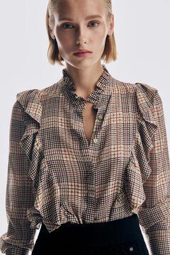 Pedro del Hierro Checked print flounced blouse Beige