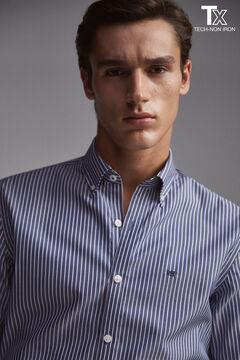 Pedro del Hierro Striped slim fit non-iron viroblock shirt Blue