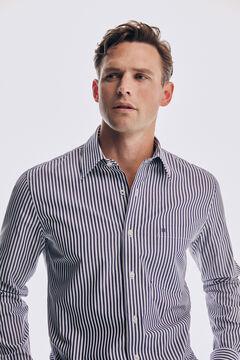 Pedro del Hierro Slim striped cotton modal shirt Blue