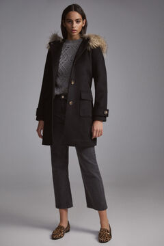 Pedro del Hierro Hooded duffle coat Black