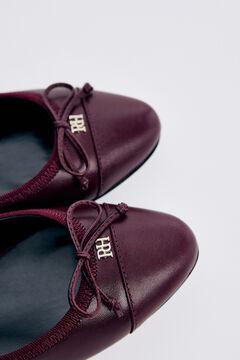 Pedro del Hierro Leather ballerina style shoe Red