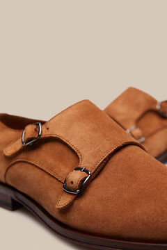 Pedro del Hierro Leather shoes with 2 buckles and a leather sole    Brown