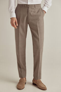 Pedro del Hierro Brown checked tailored fit trousers Beige