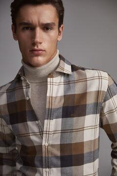 Pedro del Hierro Cashmere touch cotton melange check shirt Beige
