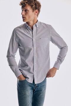 Pedro del Hierro Camisa riscas tech non-iron algodão Azul