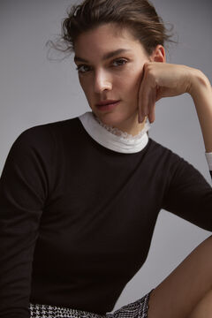 Pedro del Hierro Combined fabric jumper Black