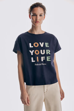 Pedro del Hierro Embroidered short-sleeved organic cotton T-shirt Blue