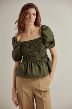 Pedro del Hierro Gathered bodice blouse Green